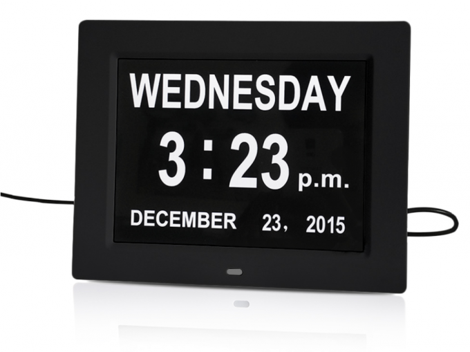 Extra Large Impaired Vision Digital Day Clock 8 Inch LCD Screen ABS Plastic Material