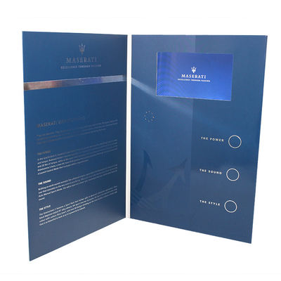 China Folded Paper LCD Brochure Card 1200g Hard Cover Music HD Screen For Advertisement supplier