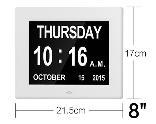 American Lifetime, Newest Version Updated Memory Loss Digital Calendar Day Clock with Day Cycles & Battery Backup(White)