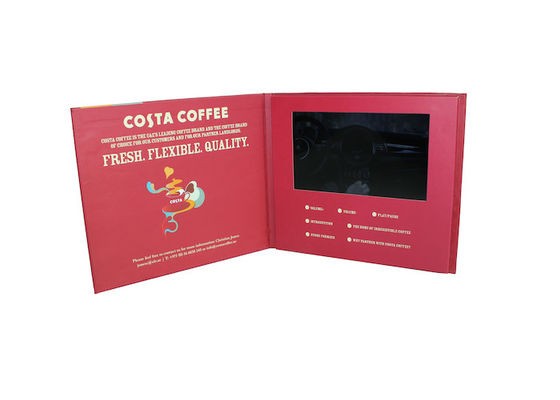 China Portable Business Video Greeting Card , 210 x 210mm Size LCD Video Brochure Card factory