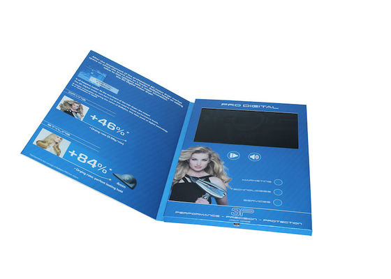 Four color printed Video In Print Brochure with TFT screen / USB port , video business card