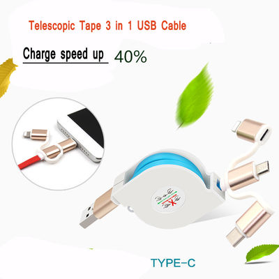 2A Fast Charge Micro USB Cable Type - C Telescopic For Smart Android Phone