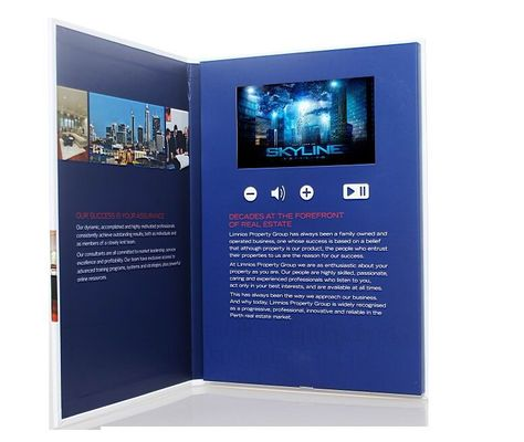 7 inch screen Video Postcard with swich buttons , video business cards with Sound speakers