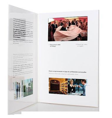 fastivel / business gift lcd video brochure card with USB cable , Flip book - video